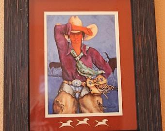 "Doreman Burns Cowgirl Signed Print Matted Framed 16"" x 20"""
