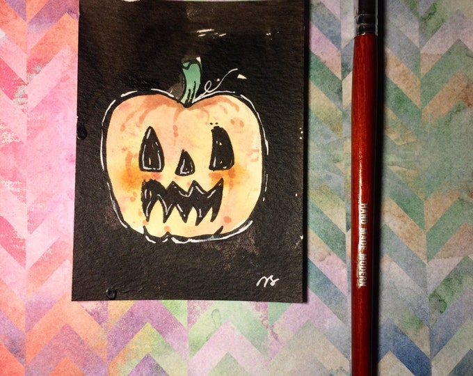 """Watercolor and ink Painting """"Pumpkin"""" 3x4 inches drawing / decoration."""