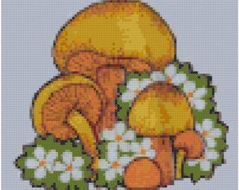 1970s Retro Mushrooms Cross Stitch Pattern, Digital Download PDF