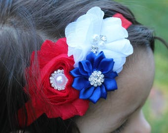 Fourth of July Headband, Red Headband, Baby Headband, Red White and Blue Headband, Baby Headband, Infant Headband, Newborn Headband