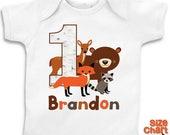 SALE Personalized Woodland Animals Bear Fox Deer Raccoon Birthday T-shirt Bodysuit Boy Girl Kids 1st 2nd 3rd 4th 5th 6th Birthday Party Shir