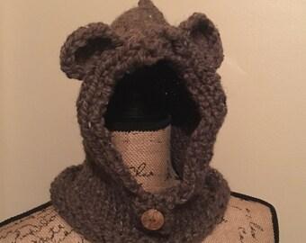 Knitted Crochet Bear Cowl 12-18 month, Bear cowl, infant cowl, toddler cowl, toddler bear cowl, baby bear cowl