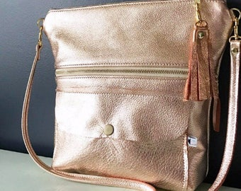 Rose Gold Leather Crossbody, Rose Gold Leather, Leather Crossbody, Leather Crossbody Bag, Rose Gold Leather Purse, Crossbody, Crossbody bag