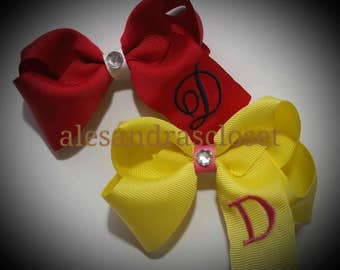Embroidered Letter D Initial Monogram Hair Bow Everyday School Birthday Simple Girls Toddler Infant Hair Bow