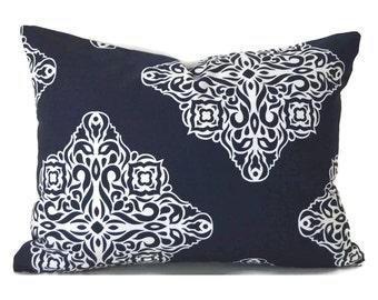 60% CLEARANCE SALE Lumbar Pillow Cover Decorative Pillow Cover Blue Pillow Premier Prints Esperanza Navy