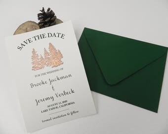 Copper Pine Trees Save the Date Wedding Card Sets - Style 120