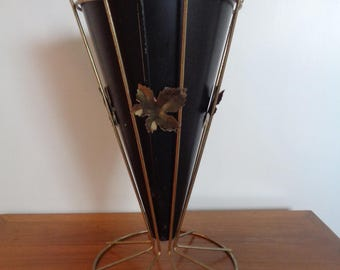 Vintage 1950's Umbrella Stand In Brass and Black