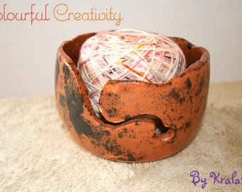 Yarn bowl - Terra cotta swirl