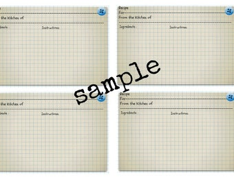 Recipe Cards Printable Instant Download A4 Size jpeg