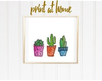 Cactus Trio Print, Watercolor Print, Cacti print, succulents, colorful, dorm decor, dorm art, wall art, nursery print, nursery art
