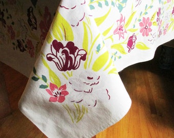 Tablecloth With Sage Green Center - Maroon, Grey, Yellow and Salmon Pink Against White - Ready to Use