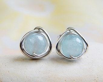 SALE Aquamarine Stud Earrings in Silver/Gold, March Birthstone, Aquamarine earrings, Bridesmaids Gifts, Aquamarine Jewelery, Birthday Gift