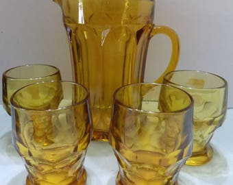 Vintage Amber Glass Pitcher & 4 Tumblers