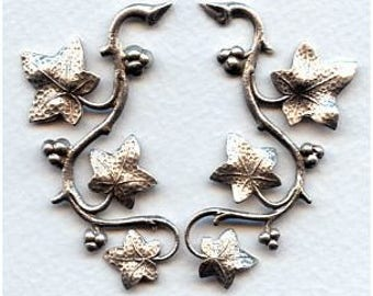 Vines and Berries Ox Sterling Plated Brass 57x28mm Great for Altered Art and Collage