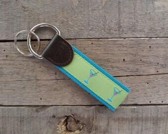 Martini Key Fob/ Preppy Key Chain / Party Theme Key Fob / Martini /Leather Key Chain/ Key Ring