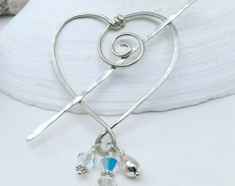 Sterling Pin, Shawl Pin, Heart Jewelry, Swarovski Crystal Pin, Valentine Gift, Winter Wedding Jewelry, Bridal Jewelry, Bride Hair Accessory