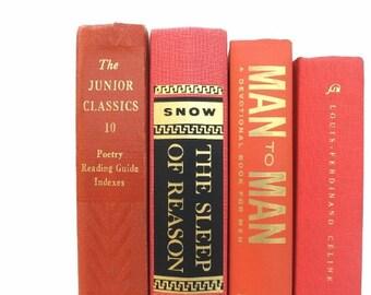 Pumpkin Harvest Orange Vintage Books/Book Decor/Wedding Decor/Home Decor/Instant Library/Old Books/Book Bundle/Decorative Books/Photo Prop