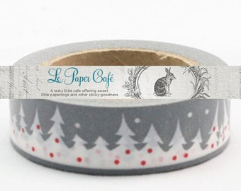 Snowy Grey Winter Scene Washi Tape - Paper/Scrapbook Washi Tape - Decorative/Crafting Tape - Packaging Supplies - 15mmx10m