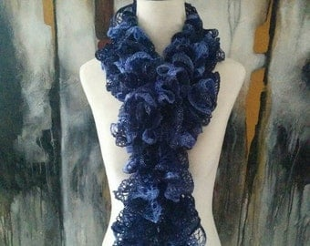 Boutique Hand Knit Blue Ruffle Scarf READY TO SHIP