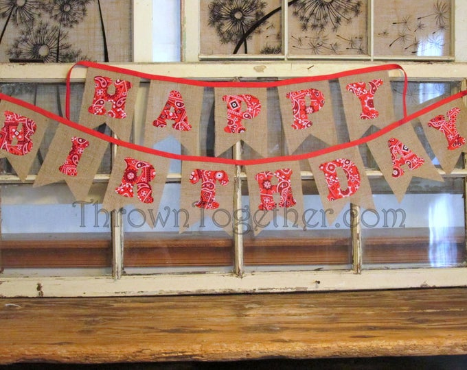 Barnyard Farm Theme Happy Birthday Banner with Red Bandana Letters, Red Bandana Banner, Barnyard Birthday Party
