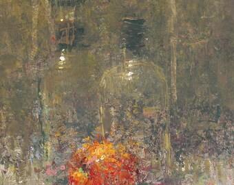 """Original Still Life Oil Painting , 12x9 , """"Ghost Bottles"""" , by  artist John Kelley"""