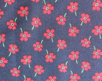 Vintage Small Print Red Blue Floral Cotton Fabric, Quilting Sewing Material with Flowers 1 yard