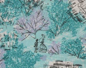 Vintage Abstract Parisienne Cotton Fabric, Turquoise Blue Purple Black, Victorian Couple, 2 1/3 yard x 37 inch wide