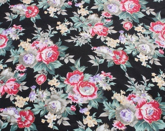 Vintage Rose Cotton Fabric by the yard, Romantic Shabby Chic Red Pink Gold Rose Flowers on Black, Floral Quilt Sewing Fabric Material BTY