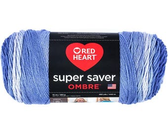 Red Heart Super Saver Ombre Yarn Baja Blue Color Gradient Yarn