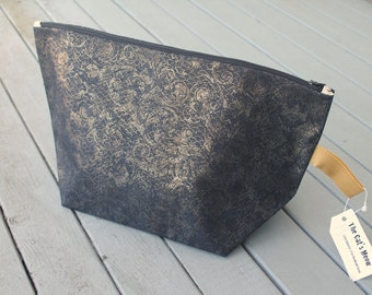 Denim Gold Filigree Cat's Meow Bag (extra large)
