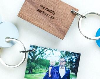 Personalised Wood And Acrylic Photo Keyring