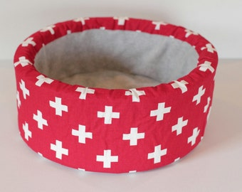 "Modern Red and White Cross print 12"" Self Warming Cat Bed"
