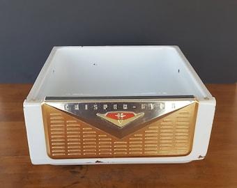 Vintage 50s Refrigerator Drawer Crisper Metal Bin Box Crisper Storage Chippy Enamel Mid Century Retro Appliance Restoration Shabby Cottage