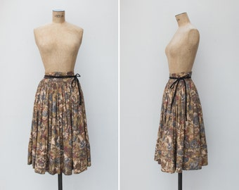 1970s Skirt - Vintage 70s Floral Circle Wrap Skirt Muted Hues - Isabel Skirt