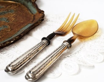 SALE Art Deco French Set of Salad Servers,Antique Silver 800 Set Spoon and Fork ,Silver and Horn Serving Set,French tableware