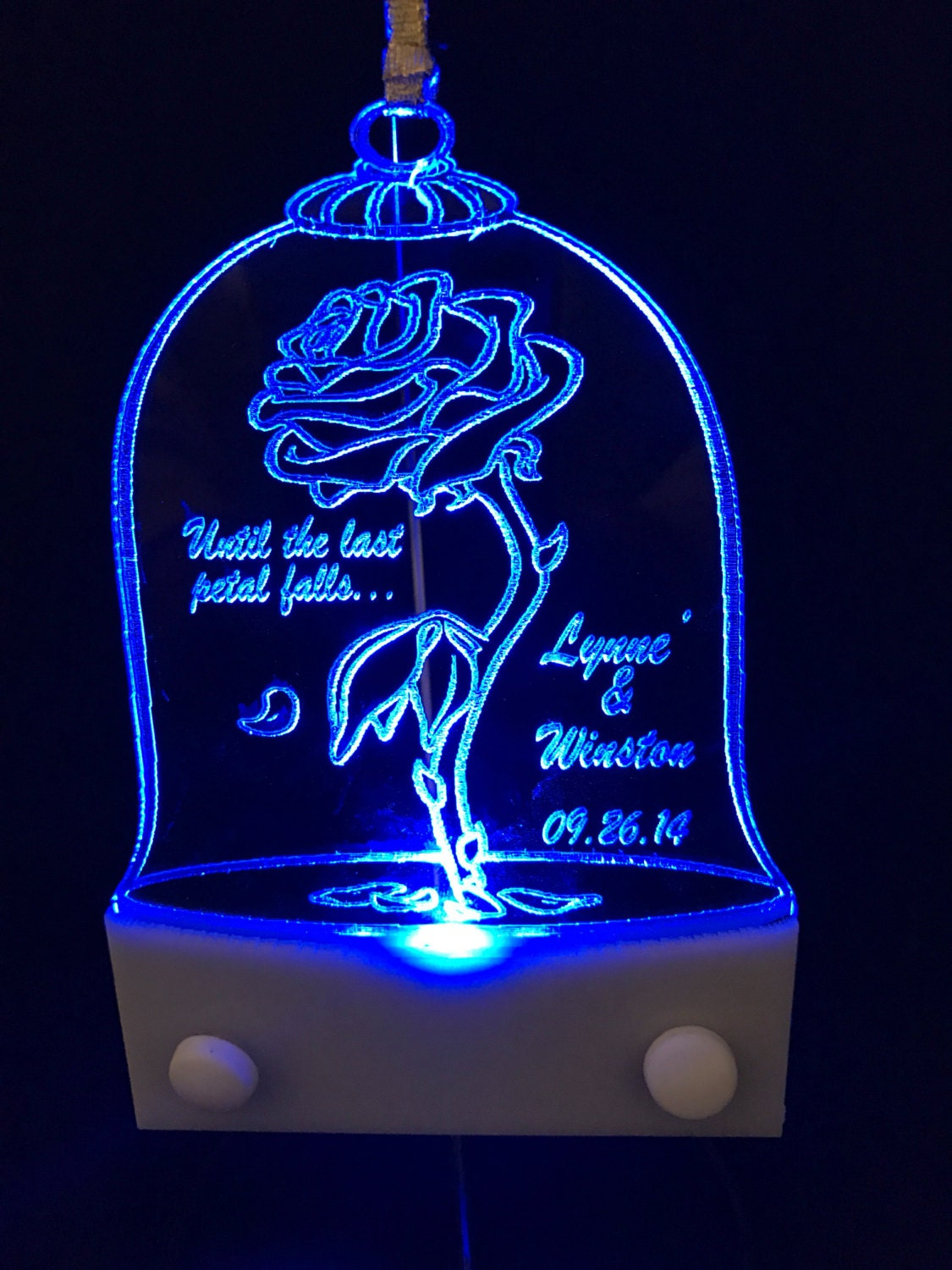 Beauty and the beast rose christmas ornament lighted