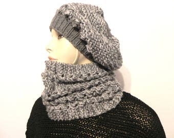 collar snood neck wool more Beanie beret knitted grey mottled hand fashion woman accessories