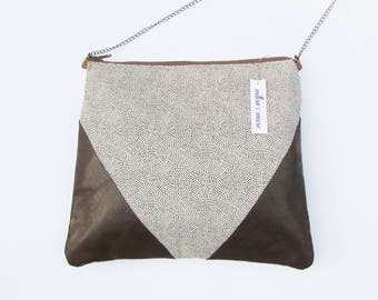Cotton and leather shoulder bag handbag purse leather fabric
