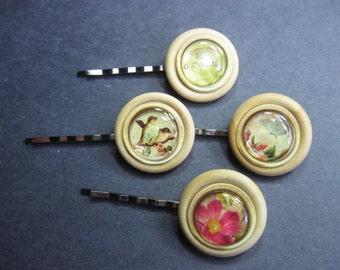 Wooden Button Bobby Pins, Bird Hair Pin, 4 Decorative Bobbypins, Flower Hair Pin, Butterfly Hair Pin, Everyday Hair Pins, Bobbie Pin Set