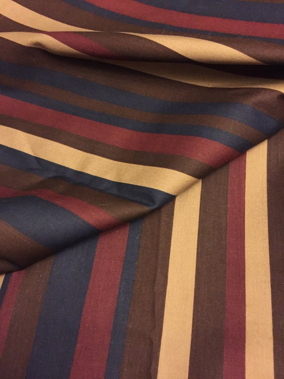 Vintage Striped Cotton Fabric Blue Red Brown And Tan