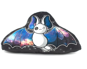 Large White Galaxy Bat Pillow, Plush Pillow, Stuffed Animal