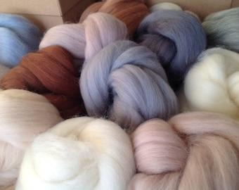 16 Lovely soft & Fine, NEUTRAL Colours, felting Wools, Needle-felting or Wet-felting.