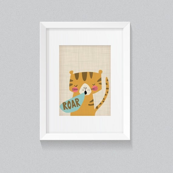 Roar Tiger Born to Be Wild Vintage Jungle African Safari Animal Print - Digital Instant Download