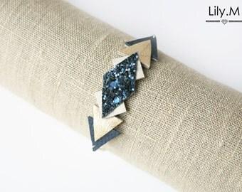 Geometric Leather Bracelet triangle Blue GINA Lily.M