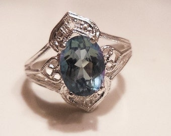 Medium blue mystic topaz sterling silver ring - made to order