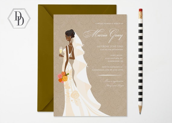 Elegant African American Bridal Shower Invitation African