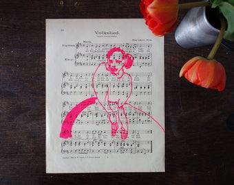 Folk song, silkscreen woman in neonpinker paint on an old sheet of music