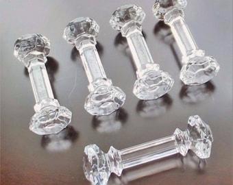 EDWARDIAN REVIVAL Vintage Set of 5 Faceted CRYSTAL Glass Knife Rests Elegant Nouveau Formal Fine Dining Tableware Downton Victorian Gothic