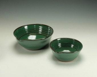 Stoneware pottery mixing bowl set.  Large and small.  Green.  Ready to ship.