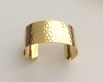 "1 Hammered Gold Cuff, 1 1/8"" wide, Wide Cuff, Bracelet, Bangle"